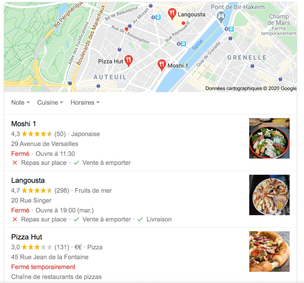 Attributs sur Google my Business repas sur place, vente à emporter et livraison pour les restaurants
