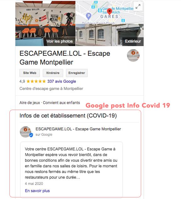 Google post info covid 19