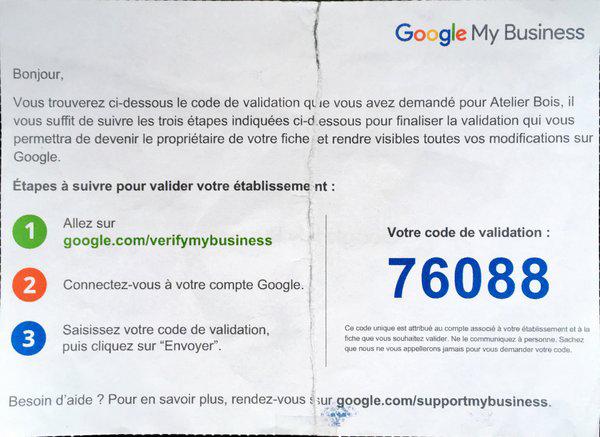 code de validation google my business