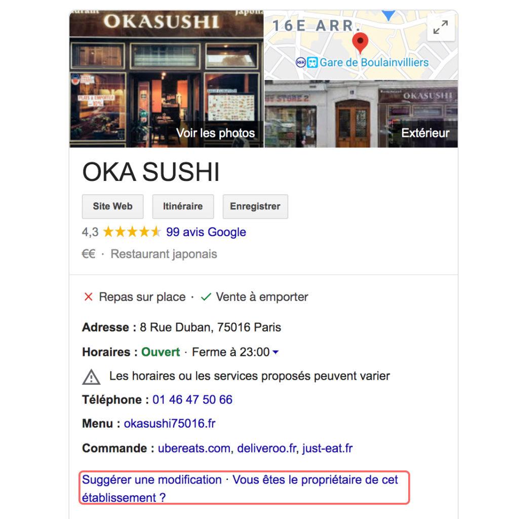 revendiquer un établissement google my business